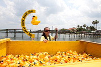 Sea Tow's Amy Donaldson helps anchor the 'duck boat'.