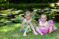 Lilly (4), and Stella (1), take a break at the lily pond.