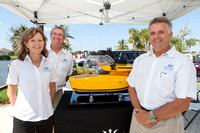 Sue and Troy Engen, with Triton Submarine owner Patrick Lahey.
